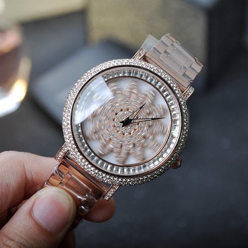 New style Women Watch Stainless Steel Watches Lady Shining Rotation Dress watch Full Diamond Stone Wristwatch reloj mujer<br><br>Aliexpress