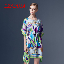 Casual sail boat printed designer O neck bat sleeve loose dress 2017 new lady nice women dress 86210
