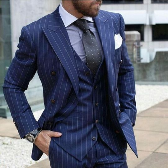 Latest Coat Pant Designs Navy Blue Vertical Stripe Formal Daily Business Custom Made 3 Pieces Blazer For Men Masculino C