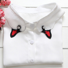 Detachable Blouse White pendent print bird mouth collier embroidery Shirt Fake Collar Women Busty  Folds autumn winter