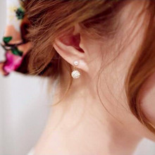New Double Sided Crystal pearl Ball Brass Stud Earrings Women Fine Jewelry Cubic Zirconia Korean Fashion jewelry