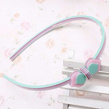 Korean Cute Princess Heart Bow Hair Band Women Girl Acrylic Peach Pattern Hair Hoop Accessories Kids Bowknot Headband