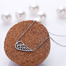 2016 new style open angle wing pendant titanium stainless necklace statement charm necklace never fade women jewelry RX021