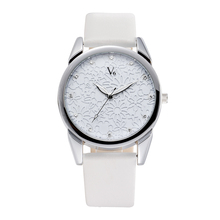 V6 Women Watches Brand elegant Flowers Fashion Quartz Genuine Leather Watch Female Clock relogio feminino reloj Christmas gift(China)