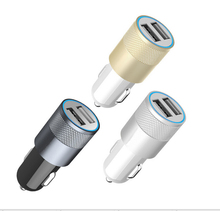 Fashion 12v 24v 2.1A 1.0A Aluminium dual usb 2-port USB Universal Car Charger Adapter  for Normal Usb phone Free shipping