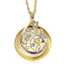 Luxury Crytal pendant  Necklace Reading Glass Pendant Women Magnifying Glass Pendants collier femme