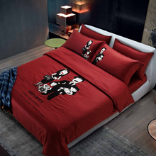 60S Egypt Cotton King Queen size Brand Bedding set Red Color Family Korea bed set 4Pcs Duvet cover set Bedsheet Pillowcases