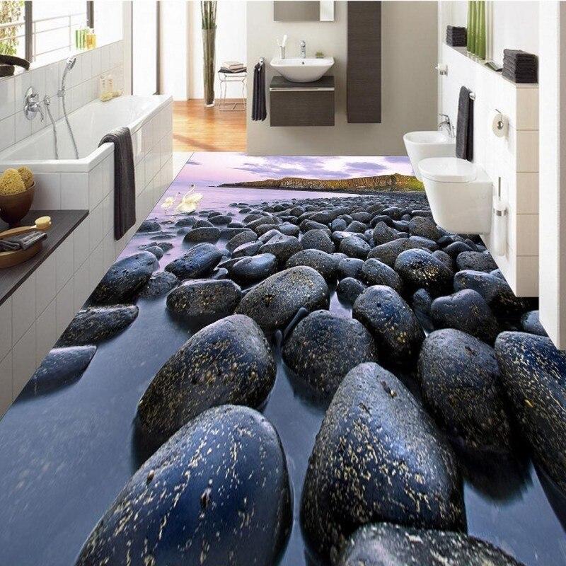 Free Shipping Black white pebble 3D floor self-adhesive waterproof living room bathroom office bedroom flooring wallpaper mural<br>