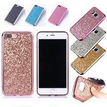 Case for Iphone 5 5s Se 6 6s 7 X Galaxy S5 S6 S7 Edge S8 Plus S4 Mini Note 8 5 Bling Glitter Soft TPU Case Cover Lady Protector(China)