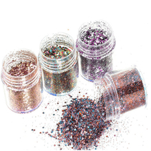 beauty 1Box Pink Rose Colorful Nail Glitter Dust Fine Mix 3D Nail Sequins Acrylic Glitter Powder Large Nail Art Tips Decoration(China)