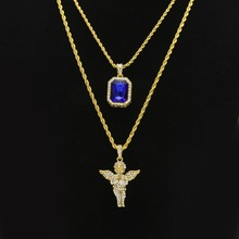 Women Men Hip Hop Golden Bling Rhinestone Necklaces Pendants Set Micro Angel Jesus Wings Praying hands Jewelry Gifts Chains(China)