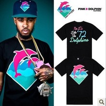 Pink Dolphin t-shirt summer fashion hip hop tee cotton men blouse skateboard t shirt Rock tops shirts leopard S-XXXL