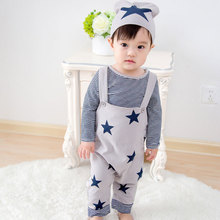 spring 0-3 years old boys striped t shirt + stars suspenders + hat 3 pieces sets child clothing sets baby sets infant sets