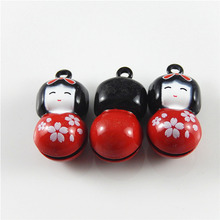(5pieces)Fashion Japan Women Jingle Bells Pendants Hanging Christmas Phone Bag Jewelry Accessories 28*14mm Handmade Crafts 52435(China)