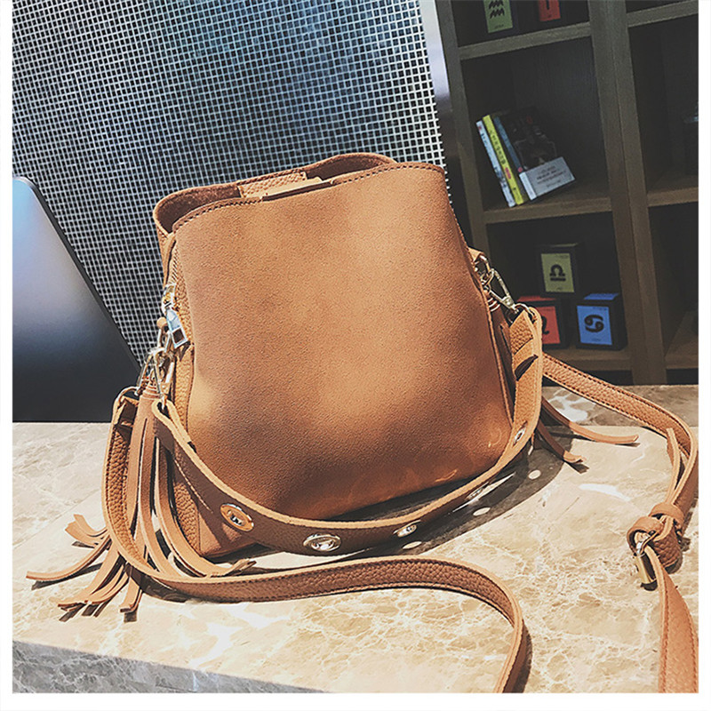 MENGXILU Fashion Spring/Summer Bucket Crossbody Bags Women Bags Handbags Famous Brand Tassel Scrub+Pu Leather Tote Bag Lady