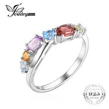 JewelryPalace Fashion 0.9ct Multicolor Natural Sky Blue Topaz Amethyst Citrine Garnet Peridot Promise Ring 925 Sterling Silver