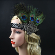 1pcs Feather Headband Black Crystal Sequins Ostrich Feather Headpiece Vintage Headband Flapper D02761(China)
