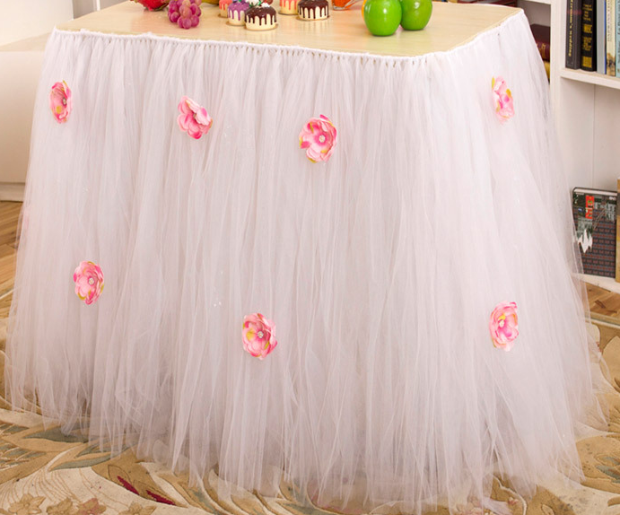 Baby Birthday Table Skirt Tutu Pearl Flower Wedding Hotel Conference Table Home Furnishings Skirt Tutus