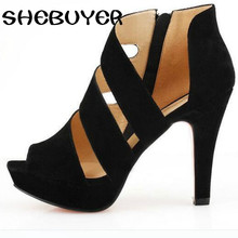 2017 new Korean peep toe shoes sandals tide  Rome shoes waterproof platform Sexy Heels night club  party shoes p27mm