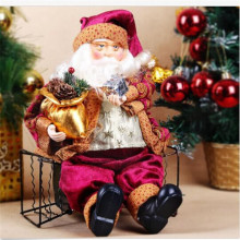 Hot Sale! 35cm Christmas Sitting Santa Claus Doll Figurine Toy Indoor Outdoor Christmas Ornament Decoration Stylish