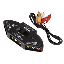 High Quality Black Selector 3 Ports Video Game Switch Cable AV RCA for Nintendo Wii TV DVDNI5L