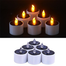 LumiParty Solar Flameless CandleFlickering Solar Power LED Birthday Candles LED Tea Light Candles for Indoor Party Decoration(China)
