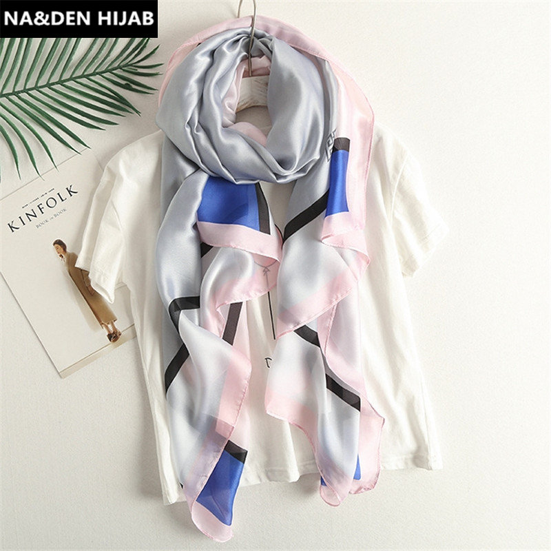 2018 autumn new new arrival silk blend scarf woman scarves and shawl geometric bandana imitated silk fashion hijabs 2 colors