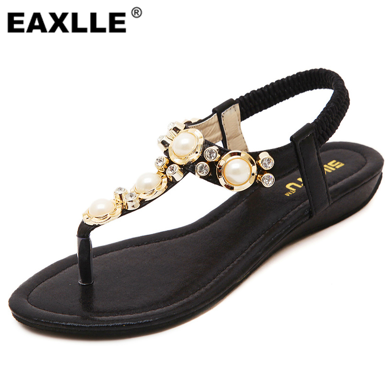Royal Women Sandals 2017 Rhinestone String Bead Casual Flats Elegant Elastic Band Summer Shoes For Woman Plus Size<br><br>Aliexpress