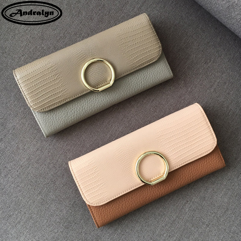 Andralyn 2018 New Genuine Leather Womens Purse Fashion Large Capacity Hasp Long Day Clutch Wallets Ladies Phone Pocket Purses<br>