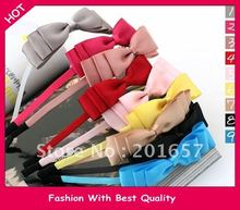 fashion freeshipping & charming fashion fabric/ silk bow sweet headband hairband color assorted 24pcs/lot