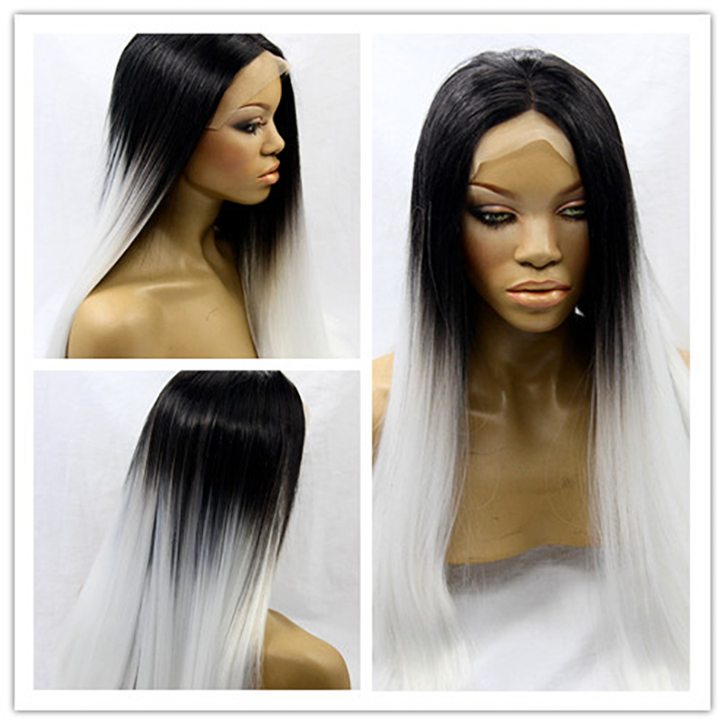 Hot Sale Top Quality Heat Resistant Synthetic Lace Front Wig Silk Straight Black to White Ombre Celebrity Wig For Black Women<br><br>Aliexpress