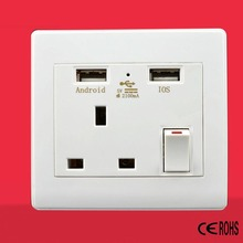 Dual 2 USB Wall Socket UK Plug Switch Power Supply Plate 2100mA Charger Home Socket(China)