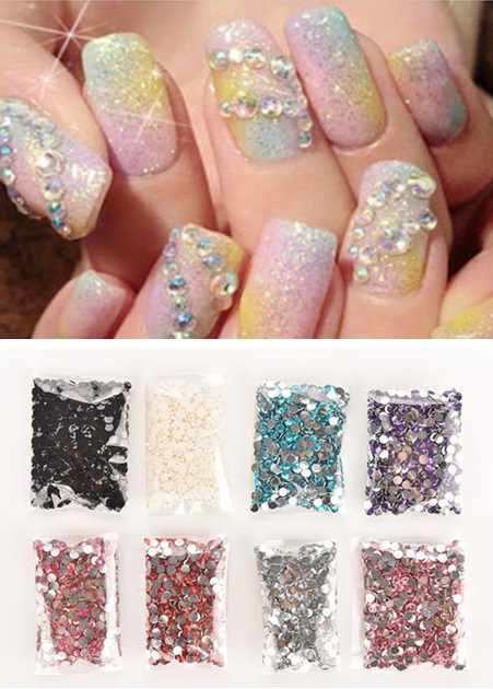 New 1000pcs/bag 4mm Rhinestones 3D Nail Art Decoration Gems Crystal Clear AB Non Hotfix Flatback Nail Rhinestones For Nails