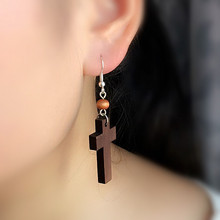 (min order $10)Simple Fashion Style cross earrings female fashion vintage jewelry earring E1016(China)