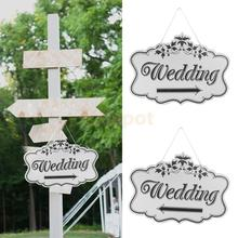 Wooden Printed Arrow Wedding Direction Sign with Ribbon Outdoor Garland Yard Decor Right or Left