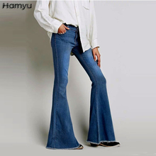 2017 Women Vintage Low Waist Washed Jeans Elastic Skinny Flare Pants Retro Style Jeans Female Wide Leg Denim Pants(China)