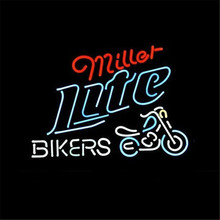 NEON SIGN For   MILLER LITE BIKE BIKERS BICYCLE LOGO   Signboard REAL GLASS BEER BAR PUB  display  christmas Light Signs 17*14""