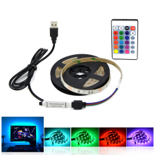 DC 5V USB cable LED strip light Warm white 2835 3528 SMD 1M 2M 3M 4M 5M RGB remote control for PC Desktop Flat Screen HDTV lamp(China)