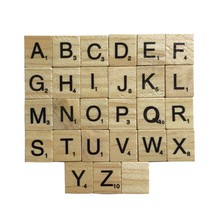 100 pcs Wooden Alphabet Scrabble Tiles Black Letters Numbers Crafts Figurines