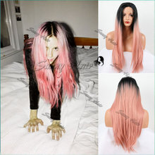 Hot !!! Sexy High Heat Resistant Silky Straight Lace Front Wig Synthetic Ombre Pink Dark Root Tone Rock Pink Hair Lace Front Wig
