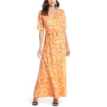 Buy Sexy Women Summer Boho Dress Vintage V-Neck Floral Print Sashes Loose Maxi Long Dresses Casual Short Sleeve Beach Party Dress for $17.40 in AliExpress store