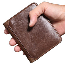 Top quality genuine leather Men's wallet vintage purse card holder Brand Natural Leather men wallets dollar price Male Purse