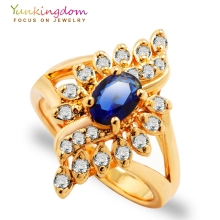 Yunkingdom Unique Design Wedding Rings for women jewellery  zircon crystal jewelry gold color Anniversary ring 5 colors