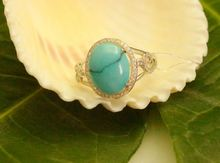 LKKLILY 3259 Natural Turquoise Jewelry 18K White Gold Diamond Ring for Women(China)