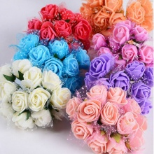 2.5CM Silk Packaging Multicolor PE Rose Foam Mini Flower Bouquet Tulle Solid Color/wedding Decoration(144pcs/lot)(China)