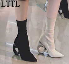 LTTL Spring New Designer Boots Fretwork Heels Ankle Boots Pointes Toe High Heeled Boots Booties Stretchy Sock Boots Slipon Woman