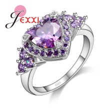JEXXI Lovely Design 925 Sterling Silver Bridal Wedding Accessories Finger Ring Women Bijoux Accessories Purple Heart Shape