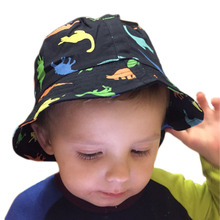 Children Boys Sun Hats Spring Summer Caps Cotton Bucket Hat Baby Kids Boy Zoo Animals Cap Dinosaur Patterns 1-4 Years Old