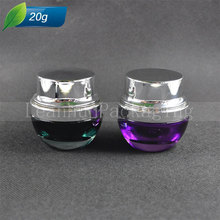 15cs/lot 20G Green Purple Glass Jar With Silver Black Lids, Glass Container, Cosmetic Packaging, Glass Cream Jar,wholesale(China)