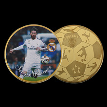 WR Quality 999.9 24k Gold Plated  Coin Sergio Ramos Collectible Football Challenge Coin Home Decorative Art Crafts for Gifts